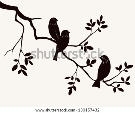 Vector birds on twig silhouette. Decorative branch of tree - stock vector