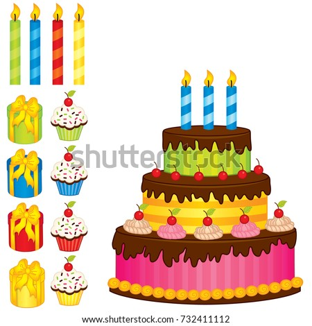Vector Birthday Cake Candles Cupcakes Gift Stock Vector 732411112