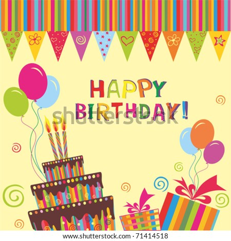 vector birthday cake with candles.  Greeting Card. - stock vector