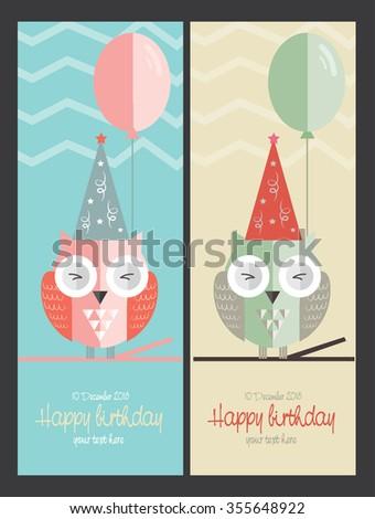 Vector birthday card with a cute little owl - stock vector