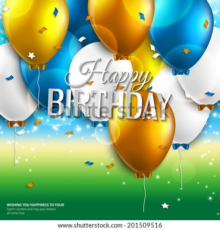Vector birthday card with balloons and birthday text on colorful background. - stock vector