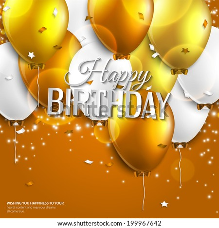 Vector birthday card with balloons and birthday text on orange background. - stock vector
