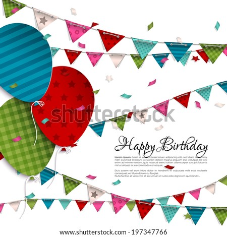 Vector birthday card with balloons and bunting flags. - stock vector