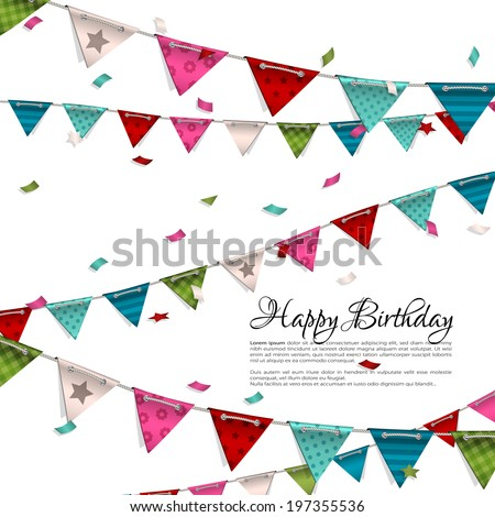 Vector birthday card with confetti and bunting flags. - stock vector