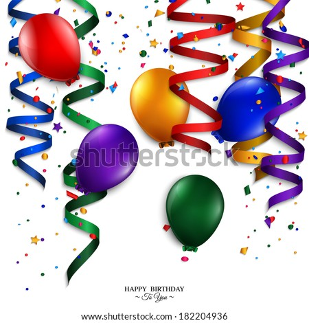 Vector birthday card with curling stream, confetti, balloons, and birthday text.