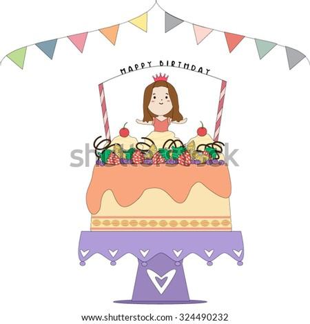 Vector Birthday Card Cute Small Princess Stock Vector 324490232
