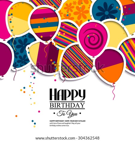 Vector Birthday Card Paper Balloons Style Vector 304362548 – Vector Birthday Cards