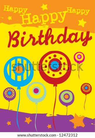 Vector birthday greeting card - stock vector