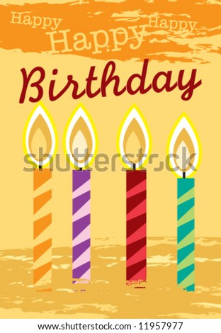 Vector birthday greeting card. Measures 4.8125 x 6.9375