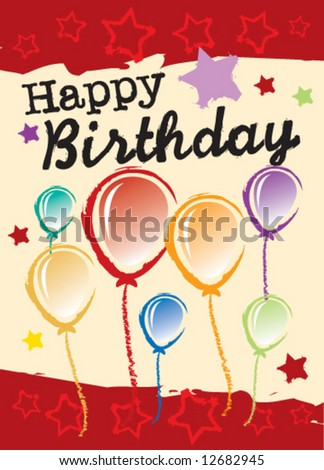 Vector birthday greeting card with balloons - stock vector