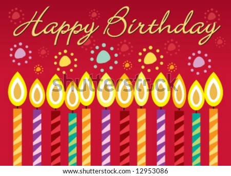 Vector birthday greeting card with candles