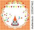 Vector birthday party card with cute owl - stock vector