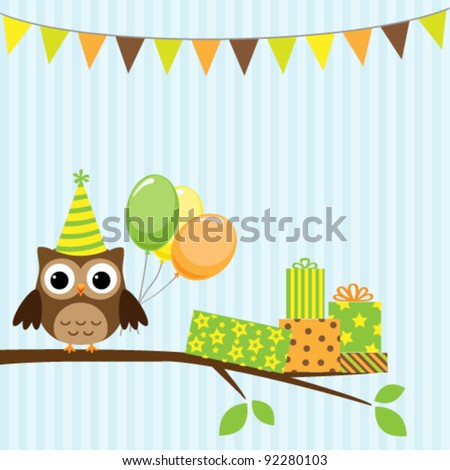 Vector birthday party card with cute owl - stock vector