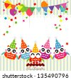 Vector birthday party card with funny owls - stock photo
