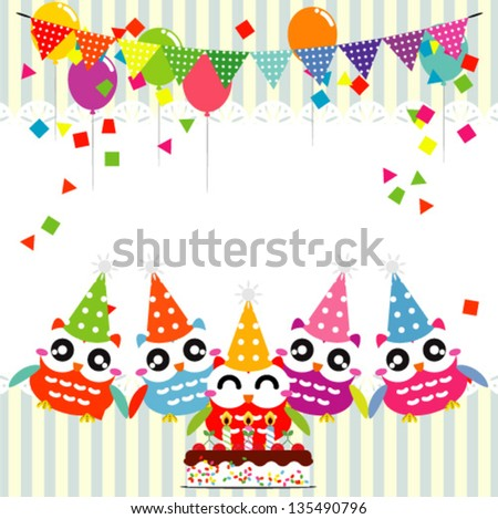 Vector birthday party card with funny owls - stock vector