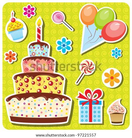 vector birthday party set - stock vector