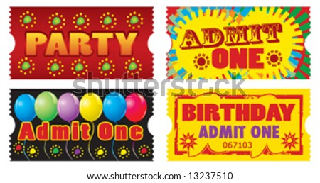 Vector birthday party tickets. Each ticket measures 2x1 inches.