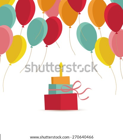 Vector birthday sweet cake with a candle and balloons - stock vector