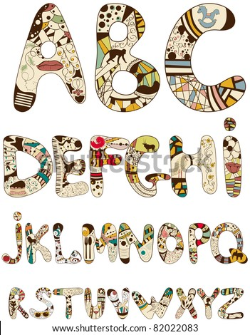 Vector bizarre font - stock vector