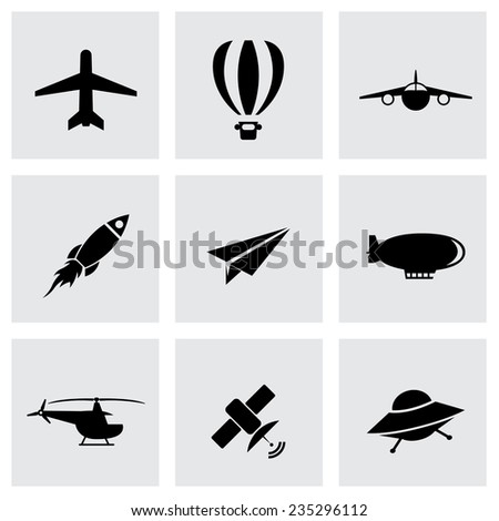 Vector black airplane icon set on grey background