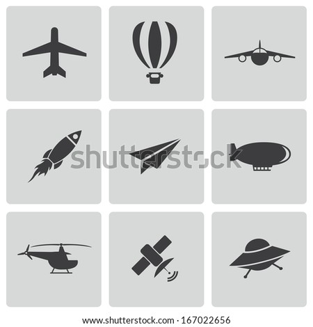 Vector black airplane icons set on white background