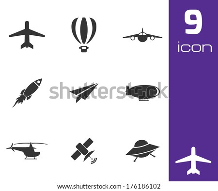 Vector black airplane icons set on white background - stock vector