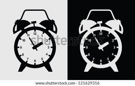vector black alarm clock icon on gray - stock vector