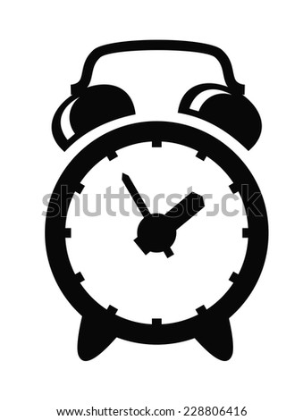 vector black alarm clock icon set on white - stock vector