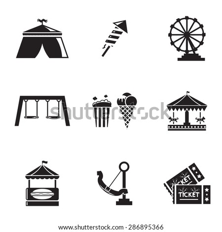 Vector black Amusement Park icons set on white background - stock vector