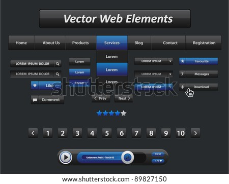 Vector black and blue web elements and audio player with control navigation panel - stock vector