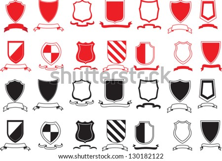 Vector Black and Red Shields set - stock vector