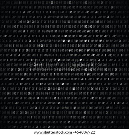 Vector black and white binary code on dark background. - stock vector