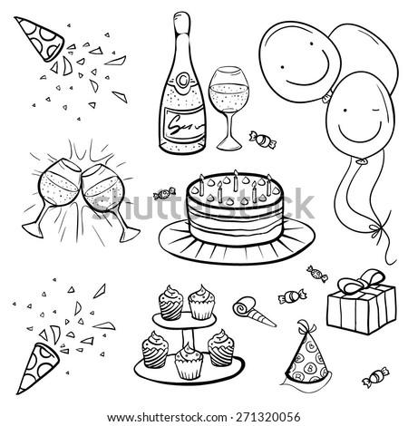 Vector Black and White Birthday Set Illustration - stock vector