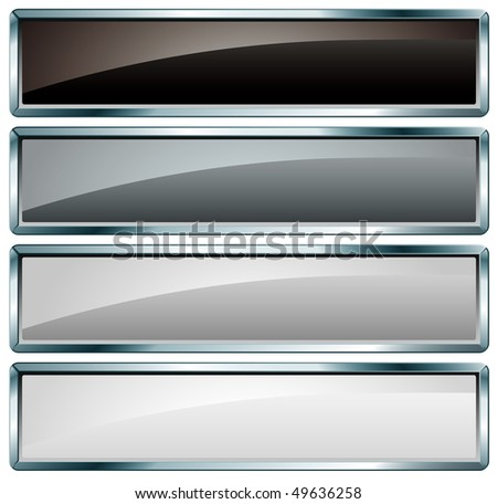 vector black and white buttons - stock vector