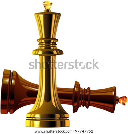 vector Black and White Chess King of wood and gold isolated on white background