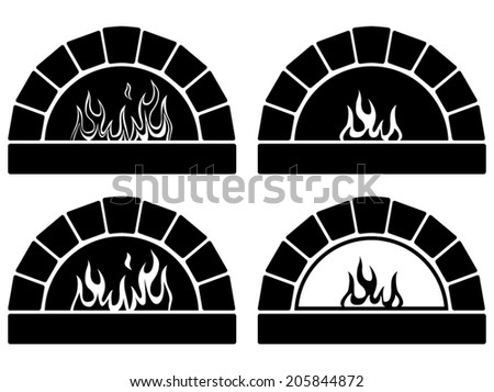 vector black and white clipart set of ovens with burning fire  - stock vector