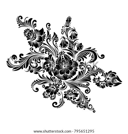 vector black white decorative floral ornament stock vector royalty