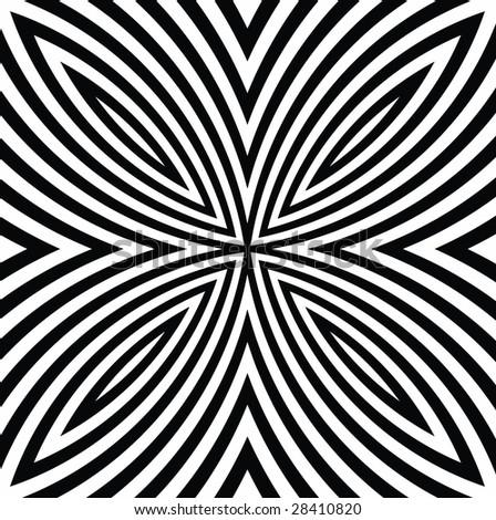 vector - black and white digital flower - stock vector