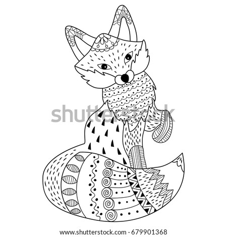 Vector Black And White Doodle Fox Detailed Ornamental Sketch Of In Tribal Style