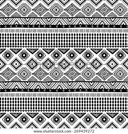 Vector black and white ethnic pattern (seamlessly tiling). Seamless pattern can be used for wallpaper, pattern fills, web page background,surface textures. seamless background - stock vector