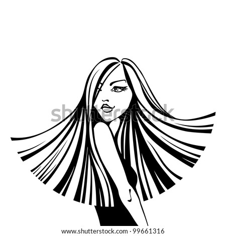 Vector black and white fashion illustration. Beautiful young woman with long flowing straight hair. - stock vector