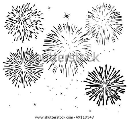 vector black and white fireworks background