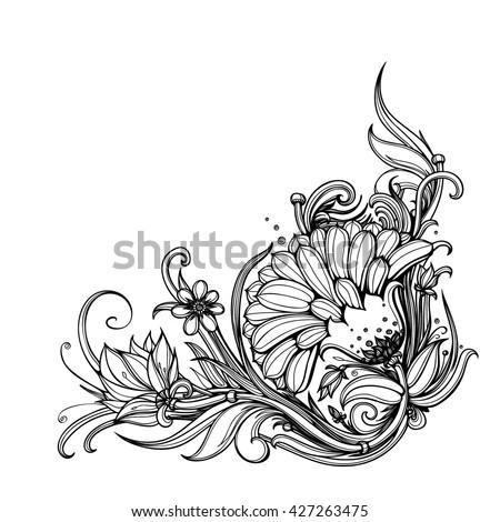 vector black white floral corner border stock vector