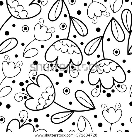 Vector Black And White Flower Seamless Pattern Simple Monochrome Print Floral Cute Doodle