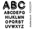 Vector black and white font alphabet - stock vector