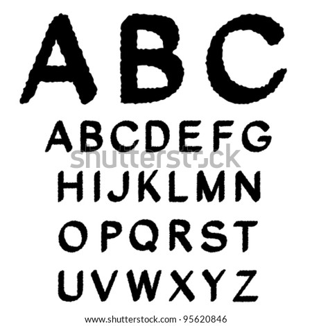 Vector black and white font alphabet - created of own font, my font is here: Image ID: 74558626
