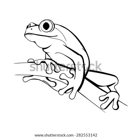 Vector Black and White  Frog Illustration - stock vector