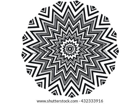 vector black and white geometric kaleidoscopic circle - stock vector