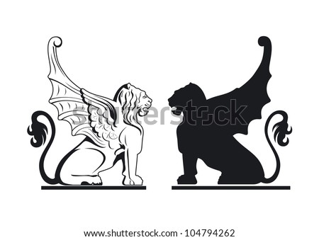 Vector black and white griffin illustration - stock vector