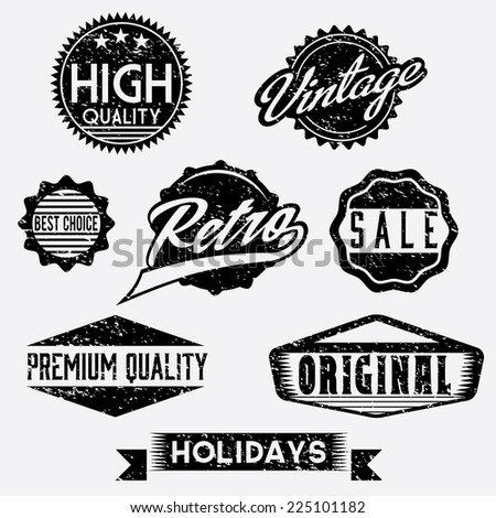 Vector Black and White Grunge Retro Stamps and Badges